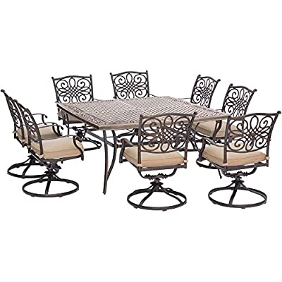 "Hanover TRADDN9PCSWSQ-8 Traditions 9-Piece Rust-Free Aluminum Patio Dining Set Outdoor Furniture, 60 x 60, Tan - SET INCLUDES: Eight swivel rocking chairs, eight seat cushions and a large square dining table HEAVY DUTY RUST-RESISTANT FRAMES: Durable all-weather construction with rust-resistant aluminum frames GENEROUS CUSHION SIZE: 2.5"" UV protected cushions offer maximum comfort - patio-furniture, dining-sets-patio-funiture, patio - 514KhhKPCtL. SS400  -"