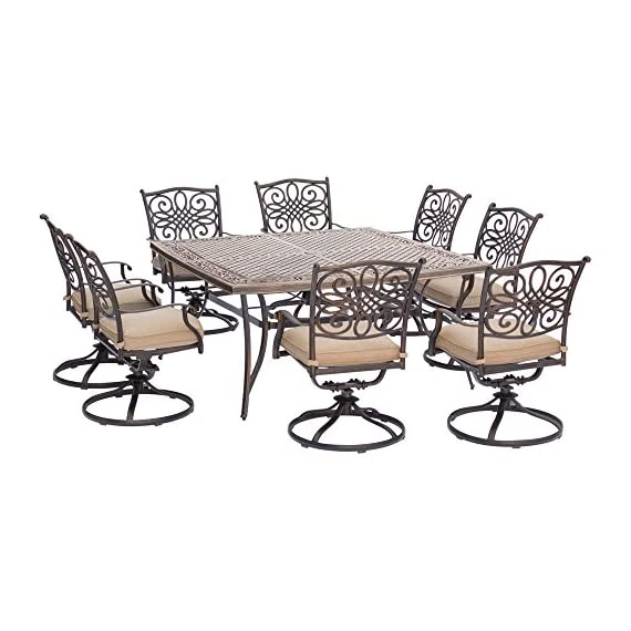 "Hanover TRADDN9PCSWSQ-8 Traditions 9-Piece Rust-Free Aluminum Patio Dining Set Outdoor Furniture, 60 x 60, Tan - SET INCLUDES: Eight swivel rocking chairs, eight seat cushions and a large square dining table HEAVY DUTY RUST-RESISTANT FRAMES: Durable all-weather construction with rust-resistant aluminum frames GENEROUS CUSHION SIZE: 2.5"" UV protected cushions offer maximum comfort - patio-furniture, dining-sets-patio-funiture, patio - 514KhhKPCtL. SS570  -"