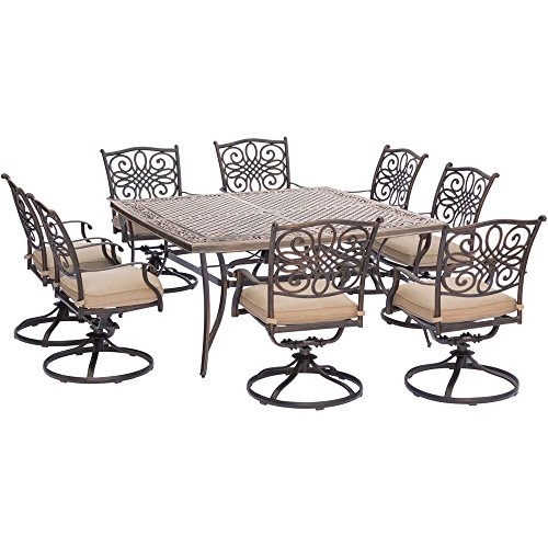 Hanover Traditions 9 Piece Square Dining Set with Swivel Dining Chairs and a Large Dining Table, 60 x (Collection Patio Dining Set)