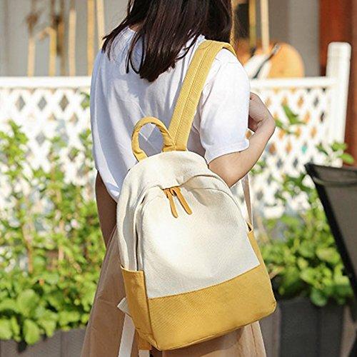 Shoulder Mujeres Mochila Dama Student Majome Para Moda Bag Lienzo School Chica Libros Amarillo Laptop 0dtwBwq