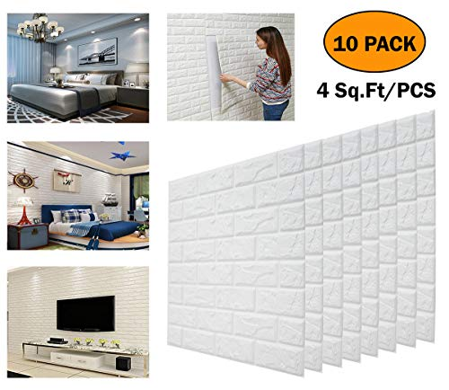 DeElf 10 PCS 3D Brick Wallpaper Peel and Stick Panels, White Brick Textured Effect Wall Décor Adhensive Wall Paper for Bathroom, Kitchen, Living Room Home Decoration 45 Square Feet Coverage (Textured Effect)