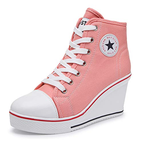 - Hurriman Women's Wedge Sneakers High Heel Canvas Shoes Lace up High Top Side Zipper Fashion Sneakers (8 B(M) US/Label 39, Pink)