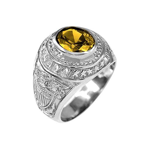 (November CZ Birthstone US Navy Men's Ring in Solid 925 Sterling Silver (Size 9.75) )