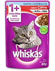 Ração Úmida Para Gatos Whiskas Sachê Carne ao Molho Adultos Castrados