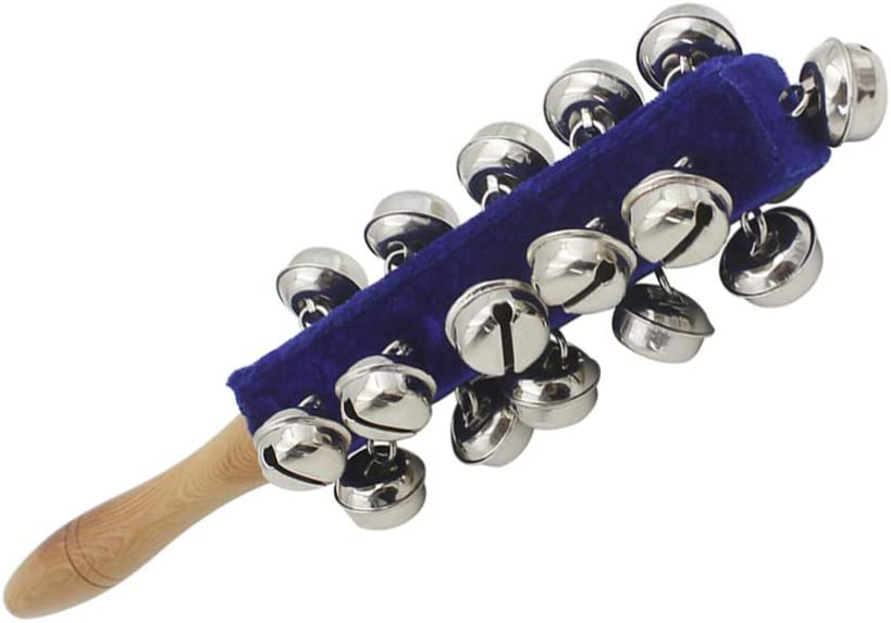 MUPOO Handhold Sleigh Bells Stick Wooden with 21 Metal Jingles Ball Percussion Musical for KTV Party Kids Game Blue