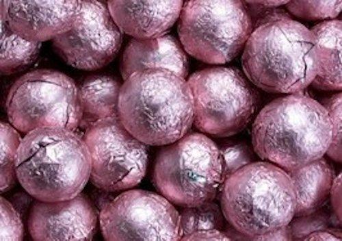 Light Pink Foiled Milk Chocolate Balls 5LB Bag (5 Chocolate Balls)