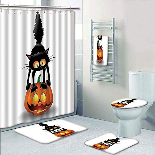 Bathroom 5 Piece Set shower curtain 3d print Multi Style,Halloween Decorations,Black Cat on Pumpkin Spooky Cartoon Characters Halloween Humor Art,Orange Black,Bath Mat,Bathroom Carpet Rug,Non-Slip,Bat -