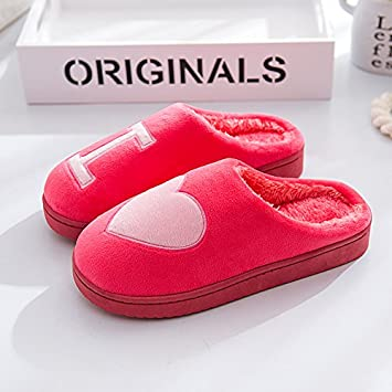 9ba7f5566 LaxBa Men Women Cotton Knitted Anti-Slip House Slippers Brown907A,53A Yard  Is Too Small.Red love heart38-39 (for 35 to 37 yards): Amazon.co.uk: Sports  & ...