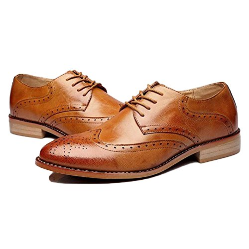Formel Doux Été Rehaussement Yellow Carving Commerce Cravate Hommes Astuces Bullock Marron Chaussures Cuir snfgoij AYxRqX4T