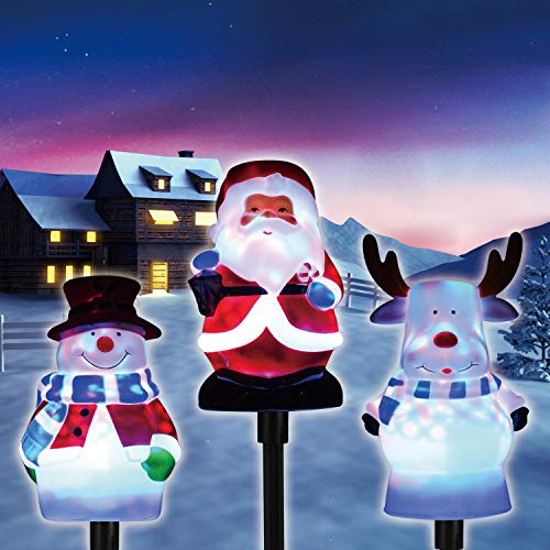 Christmas Pathway Lights Outdoor, Snowman Santa Reindeer Set LED Path Lights Garden Landscape Lights, 5V Low Voltage Plug in Waterproof Holiday Decor Lamp for Patio, Yard, Lawn
