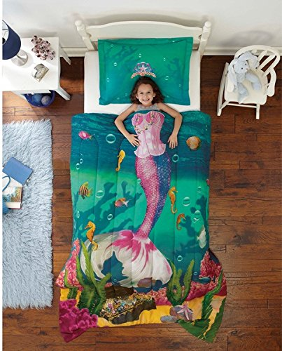2 Piece Girls Mermaid Princess Comforter Twin Set, Cute Bubbles Underwater Sea Shell Life Bedding, Aqua Under Water Ocean Seahorse Treasure Chest Coral Reef Fish Themed, Girly Tiara Crown Tail