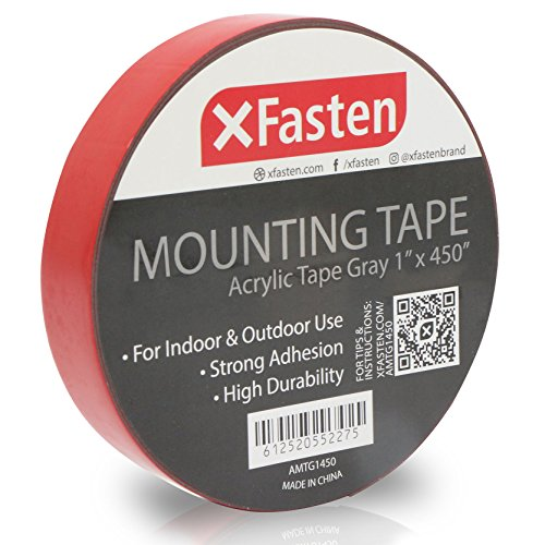 (XFasten Extreme Double-Sided Acrylic Mounting Tape Removable, Gray, 1-Inch x 450-Inch, Weatherproof, Super Strong Double-Sided Adhesive and Tough Bonding Strength)