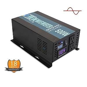 WZRELB Full Power Pure Sine Wave 12V to 120V Dc to AC Power Inverter (RBP500S)