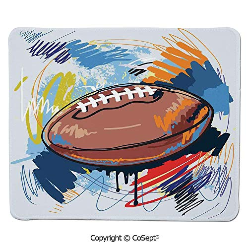 Ergonomic Mouse pad,Diamond Shape Rugby Ball Sketch with Colorful Doodles Professional Equipment League,for Laptop,Computer & PC (15.74