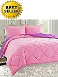 Pink and Purple Comforter Set Celine Linen Luxury All Season Light Weight Down Alternative Reversible 3-Piece Comforter Set - Hypoallergenic, Diamond Stitched, Full/Queen, Pink/Purple