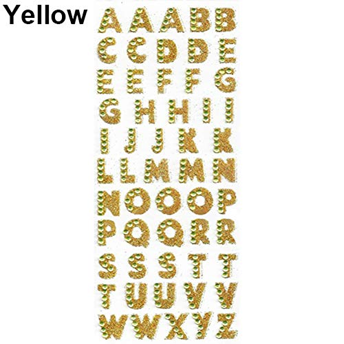 Baost 1 Sheet Self-adhesive Glitter Alphabet Letter Rhinestone Stickers A-Z Words Decorative Scrapbook Stickers Embellishments for Kid Craft, Greeting Cards, Photo Album Yellow