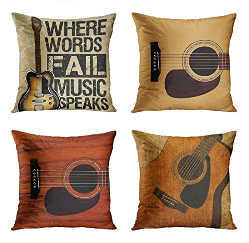 - ArtSocket Set of 4 Throw Pillow Covers Guitar Music Speaks Messenger Electric Musician Where Words Fail Spruce Top Acoustic Decorative Pillow Cases Home Decor Square 16x16 Inches Pillowcases