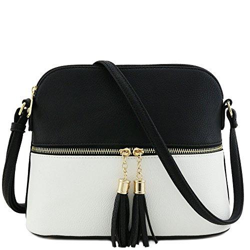 Tassel Zipper Pocket Crossbody Bag (Black/White) Black & White Bag