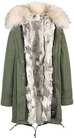 a3df2f4ed2a2d Melody Women s Army Green Large Raccoon Fur Collar Hooded Long Coat Parkas  Outwear Rabbit Fur Lining