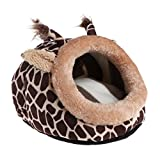 SCASTOE Small Animal Bed House, Hamster Winter Warm Plush Sleep/Play Cave Hut Nest (L, Giraffe)