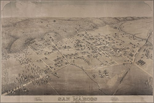 (24x36 Poster; Bird'S Eye View Map Of San Marcos In Hays Co. Texas, 1881)
