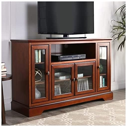 Farmhouse Living Room Furniture Pemberly Row 52″ Highboy Style Wood TV Stand Console Entertainment Credenza Buffet Sideboard Cabinet with Glass Storage in Rustic Brown farmhouse tv stands