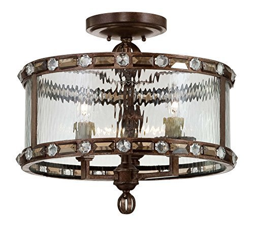Savoy House 6-6032-3-131 Semi-Flush with Clear Watered Shades, Gilded Bronze Finish by Savoy House
