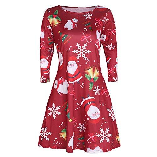 iLUGU Rigorous Mini Dress for Women Long Sleeve O-Neck 3D Santa Snowman Skater Print Shirt Gown