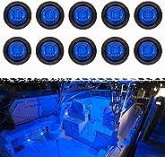 PSEQT 3 LED Round Boat Interior Deck Transom Courtesy Utility Light Marine Step Cockpit Lighting Waterproof fo