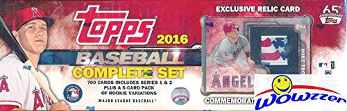 2016 Topps MLB Baseball EXCLUSIVE MASSIVE 706 Card MIKE TROUT Stamp RELIC Complete Factory Set with 5 ROOKIE VARIATION Cards including 2 Corey Seager RC's! Includes all Cards from Series 1&2! WOWZZER!