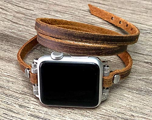 Vintage Distressed Brown Leather Band For Apple Watch Series 4 40mm 44mm Series 3 2 1 38mm 42mm Handmade Triple Wrap Women iWatch Bracelet Adjustable Size Strap ()