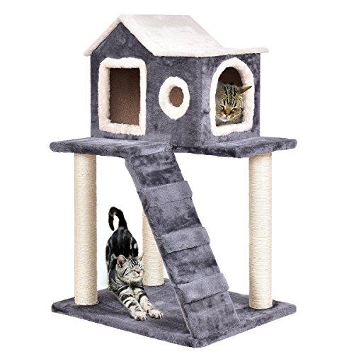 DREAMADE Katzenkratzbaum Katzenbaum Spielbaum, Katzenbaum Holz, Katzenspielbaum mit Treppenleiter und Haus, 88cm Hoch…