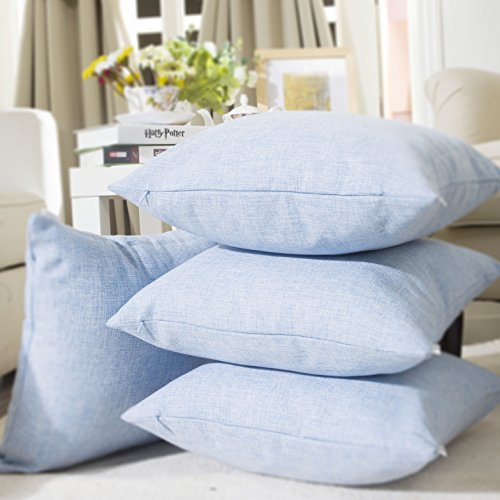 Home Brilliant Supersoft Fuax Linen Square Throw Pillow Sham Cushion Cover for Kids, Light Blue, 45cm, 4 Pack (Plain Throw Pillow Insert compare prices)