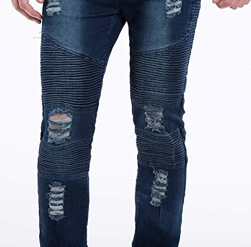 Da Slim Jeans Stretch Casual Fit Distrutti Denim Pantaloni Strappati Uomo Blau Vintage Moda 4BBwxa1qH
