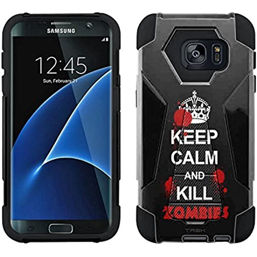 Samsung Galaxy S7 Edge Hybrid Case KEEP CALM Kill Zombies on Black 2 Piece Style Silicone Case Cover with Stand Sales