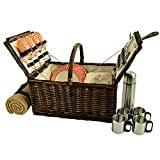 Picnic at Ascot Buckingham Willow Picnic Basket With Blanket And Coffee Service, Brown Wicker/Diamond Orange
