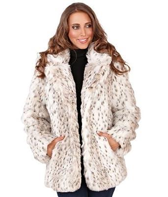 aef4234787913 Womens Faux Fur Snow Leopard Winter Coat White
