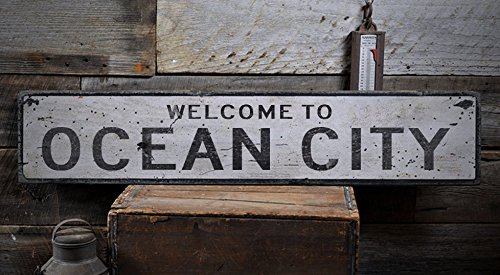 Welcome to OCEAN CITY - Custom OCEAN CITY, MARYLAND US City, State Distressed Wooden Sign - 7.25 x 36 - City Ocean Shops Maryland