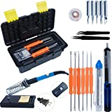 ULT-unite Electric Soldering Iron Kit, Adjustable Temperature Welding Soldering Iron,5pcs Different Tips, Soldering Station with Tool Carry Case for Repaired Usage and DIY Handmade.