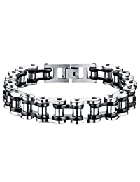 Oidea Mens 13MM Wide Stainless Steel Gothic Bicycle Chain Bracelet for Biker,8.5 Inch,4 Color Available