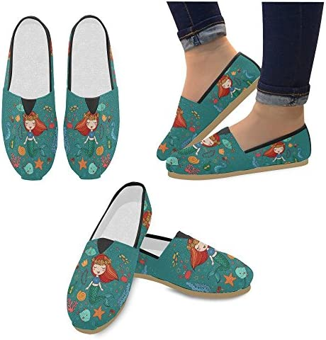D-Story Fashion Sneakers Flats Cartoon Mermaid Womens Classic Slip-on Canvas Shoes Loafers