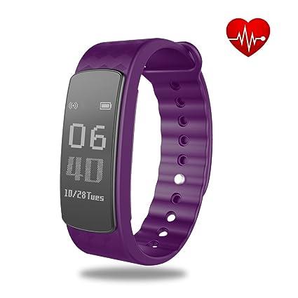 Pulsera Actividad con Pulsometro,SHONCO Pulseras de Actividad Podómetro Inteligente Bluetooth Fitness Tracker Wristband con Monitor Sueño Cuenta ...