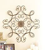 outdoor wall decor metal square - Square Scrolled Metal Wall Medallion Decor