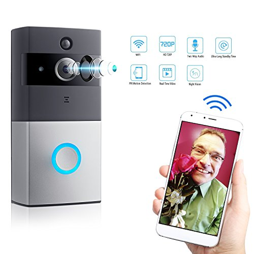 LeadTry VDC-07 Wireless Wi-Fi Video Doorbell Cam, 720P HD Security Camera Built-in 8G Memory Card, PIR Motion Detection, Real-Time Two-Way Talk and Video, Night Vision, App Control for IOS/ Android LEADTRY
