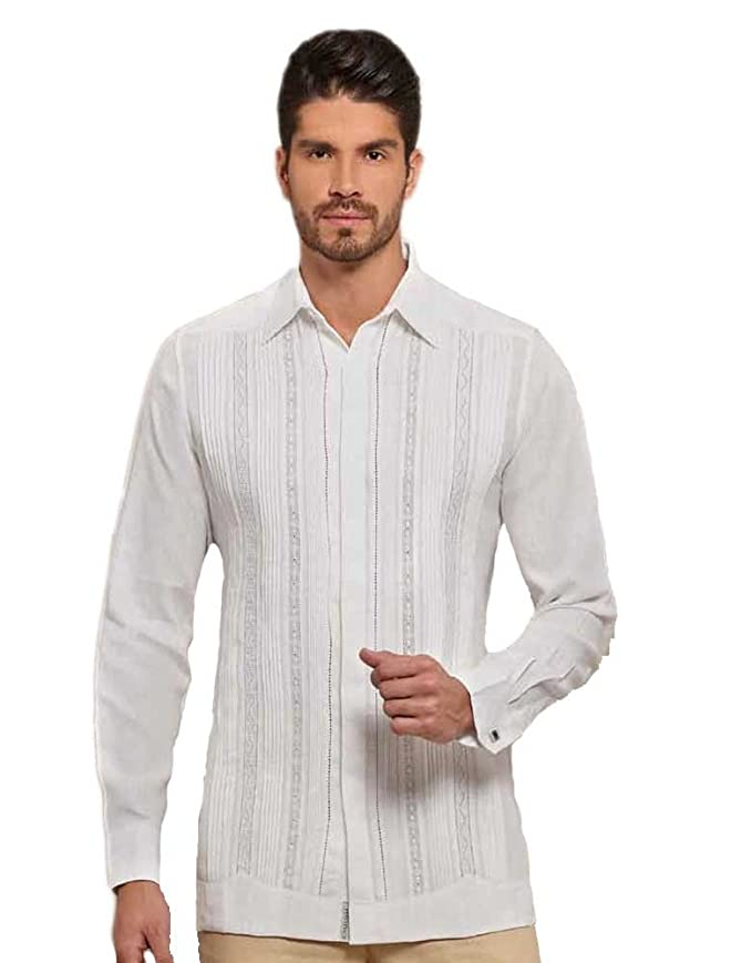 Formal premium linen Guayabera for wedding. 3 Laces. at Amazon Mens Clothing store: