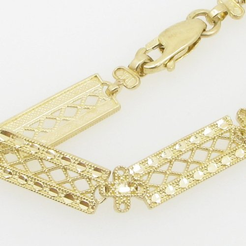 10 K Or jaune femme fancy or lien style vintage bracelet agwbrp5 19,1 cm haut et 6 mm de large