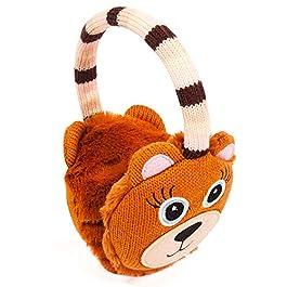 Aroma Home Woman's Earmuffs Click & Heat Gel Pads Cozy Ears Warmer for Winter – Bear Bunny Design (Bear Earmuffs)