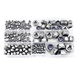 165pcs Nylon Insert Locknut Stainless Steel SS304 Fastener Assortment Kit M3/M4/M5/M6/M8/M10/M12