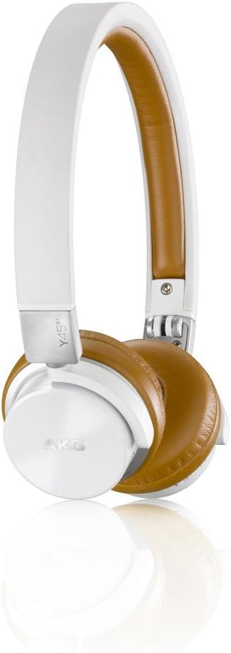 AKG Y45BT - Auriculares supraaurales estéreo para Dispositivos iOS y Android (Recargables, con Bluetooth, Cable Desmontable, Control de Volumen/micrófono), Blanco