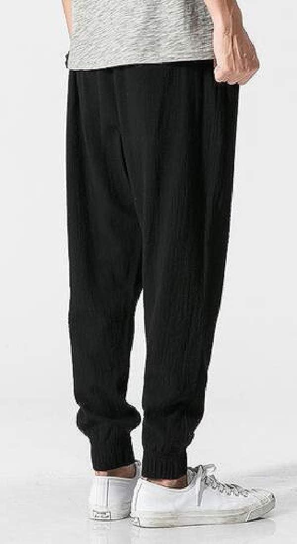 UUYUK Men Loose Fit Beach Cotton Linen Drawstring Solid Color Casual Harem Jogger Pants